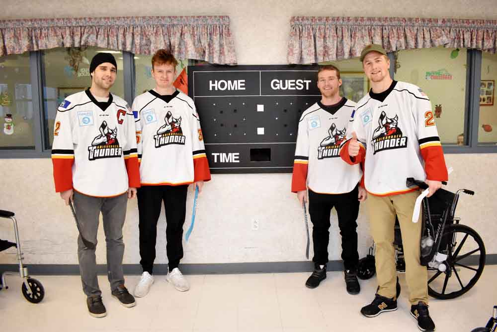 Adirondack Thunder entertaining residents of Wesley Health Care Center.
