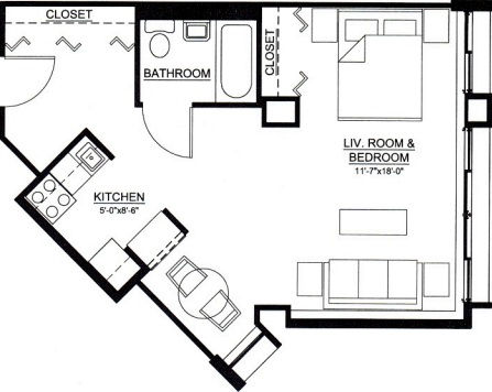 studio floor plan type a for the Embury Apartments affordable senior housing