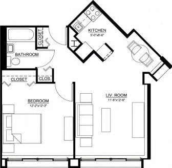 one bedroom floor plan type b for the Embury Apartments affordable senior living