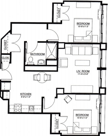 two bedroom floor plan type d for the Embury Apartments affordable senior housing in Saratoga