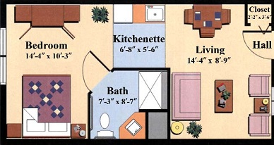 enriched/assisted senior living one bedroom floor plan type a at the Woodlawn Commons in Saratoga Springs