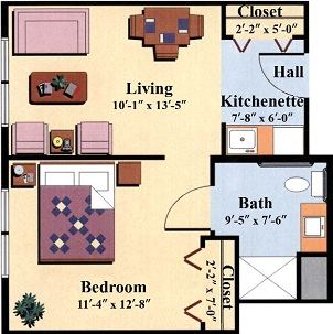 enriched/assisted senior housing one bedroom floor plan type b at the Woodlawn Commons