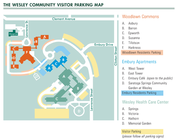 Wesley Community visitor parking map in Saratoga