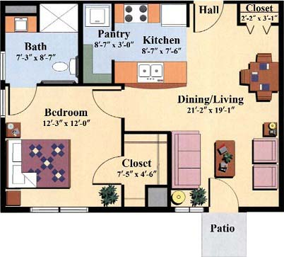 one bedroom floor plan type c for the Woodlawn Commons independent senior living community