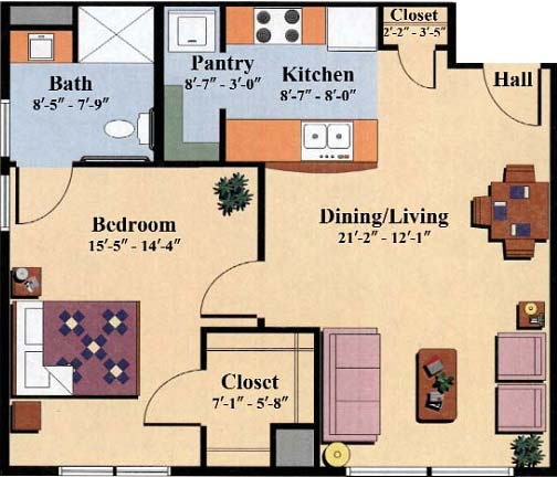 one bedroom floor plan type d for the Woodlawn Commons independent senior housing in Saratoga Springs