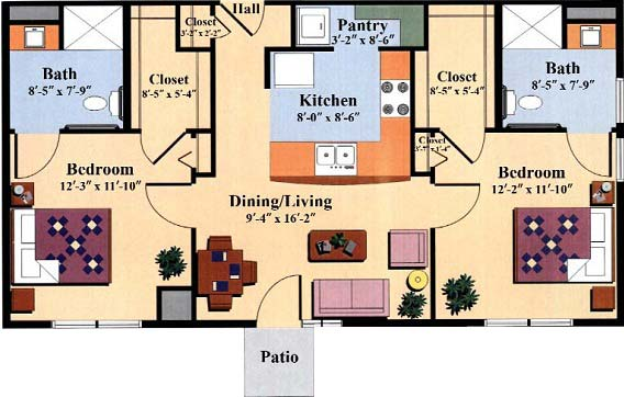 two bedroom floor plan type e for the Woodlawn Commons independent senior living community in Saratoga