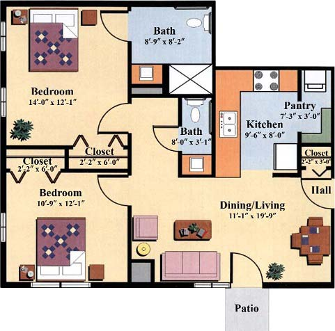 two bedroom floor plan type g for the Woodlawn Commons elderly independent living apartments