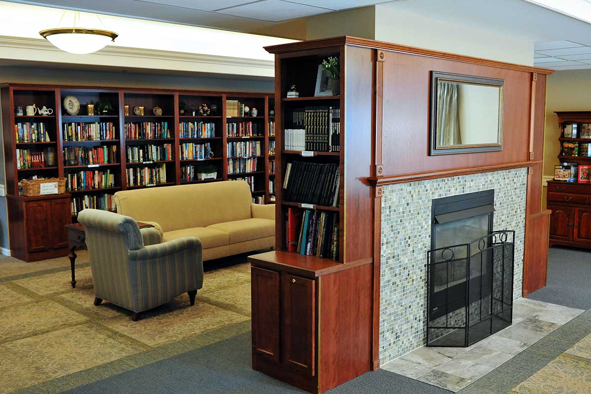 book shelves and cozy fireplace