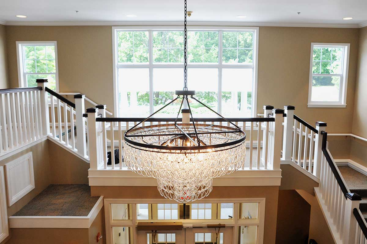 chandelier above entrance