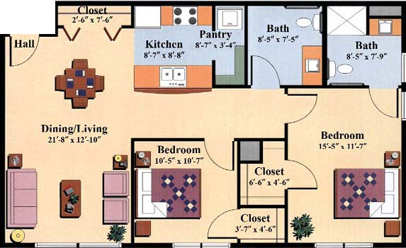 two bedroom floor plan type f for the Woodlawn Commons independent senior living apartments