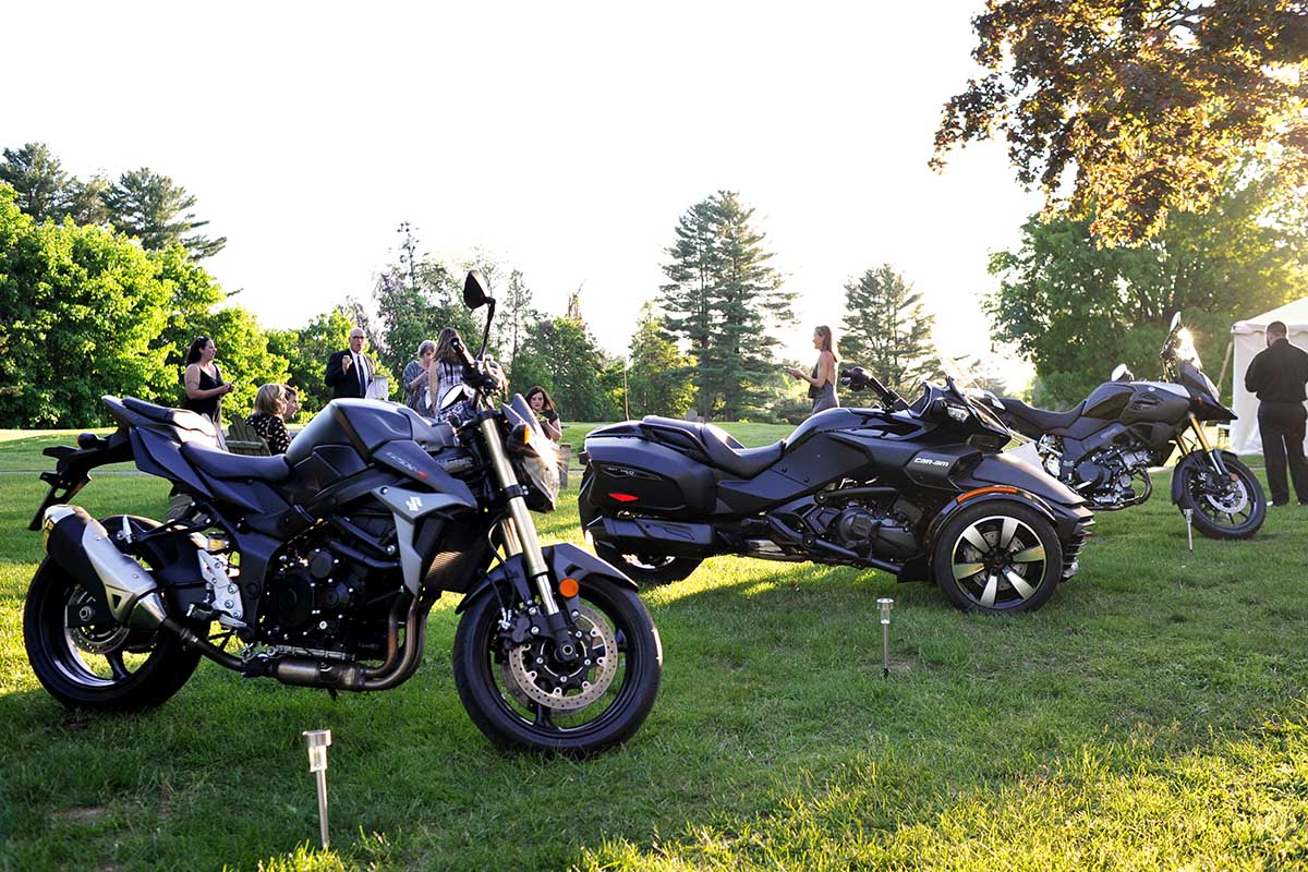 Black Motorcycles parked on grass