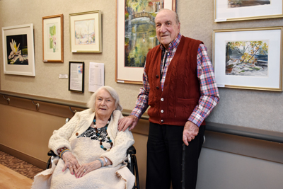 Artist Eleanor Rowlan Noble with her husband, Jim Noble.