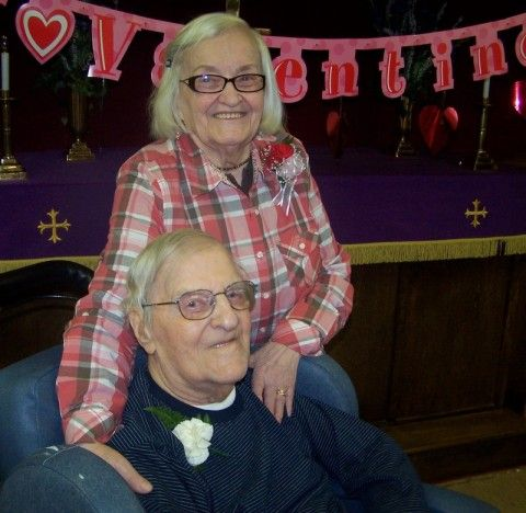 Elderly couple celebrating Valentine's Day