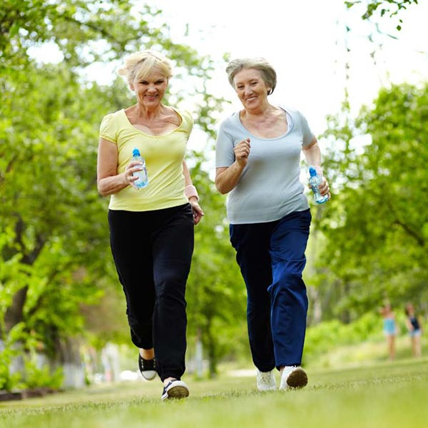2 women walking for exercise