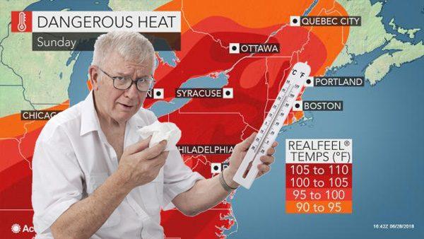 senior community member giving hot weather forecast