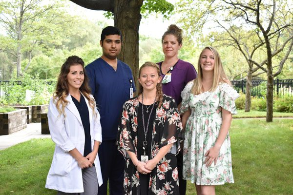 5 recipients of Wesley's new nursing scholarship.