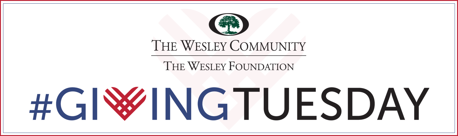 giving tuesday graphic with the wesley foundation logo.