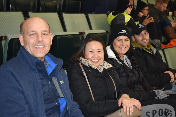 The Adirondack Thunder welcomed nearly 75 residents and staff from The Wesley Community to its home game against the Wheeling Nailers at Cool Insuring Arena on Wednesday, January 16. Pictured from left to right: Chief Operating Officer at The Wesley Community Dutch Hayward; Director of Assisted Living Saranya Thomas; Wesley Health Care Center Administrator Jessica Florio; and Paul Florio.