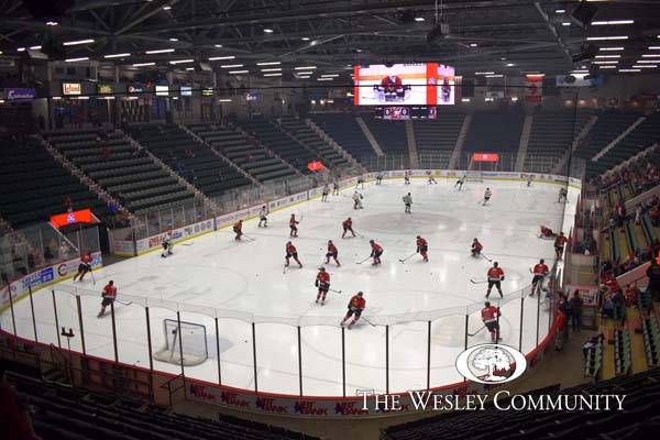 The Adirondack Thunder playing a hockey game in the Cool Insuring Arena in Glens Falls, NY