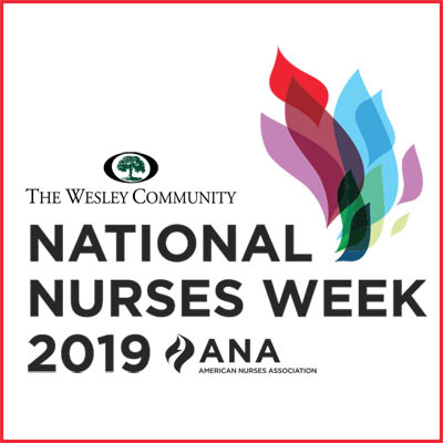 National Nurses Week logo - a mutli-colored flame.