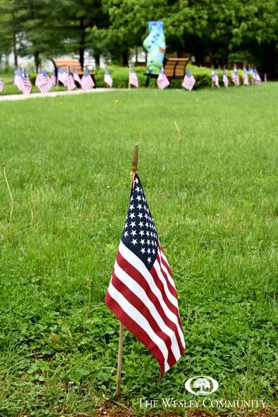 American flag display at the Wesley Memorial Garden.