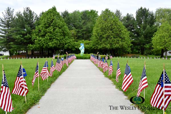 American flag display at the Wesley Memorial Garden.