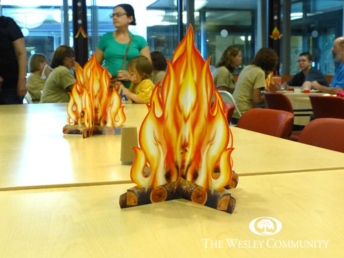 fake campfires as table centerpieces