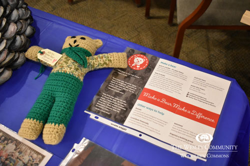knitted bear on display