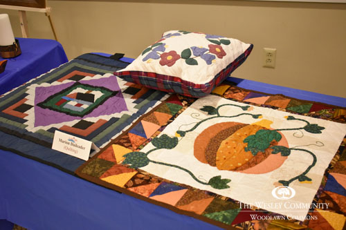 pillow and quilts on display