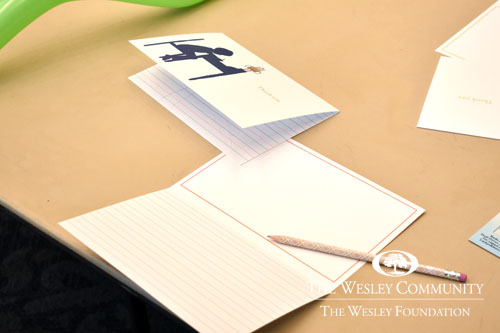 blank writing card and pencil