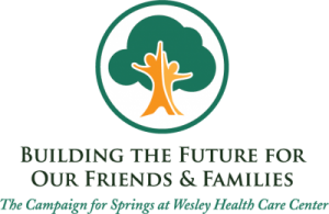 "The logo for The Campaign for Springs. It features a slogan which reads, ""Building the Future for our Friends and Families - The Campaign for Springs at Wesley Health Care Center."""