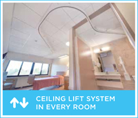 An example of the ceiling lift system that will be available in resident rooms after the renovation of the Springs Building.