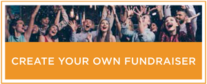 """A graphic with an excited group of people that reads """"Create your own fundraiser."""""""