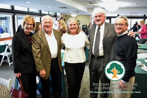 The Campaign for Springs Launch. THis photos features three men and two woman in formal wear, smiling for the camera. They are local Saratoga government leaders, including the Mayor, Meg Kelly.