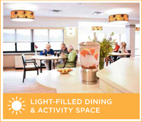 An example of the bright, modern and comfortable dining and activity spaces that will be available to residents after the renovation of the Springs Building.