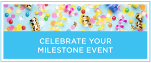 "A colorful graphic with confetti and streamers that reads ""Celebrate your event milestone."""