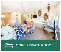 An example of the private rooms that will be available in resident rooms after the renovation of the Springs Building. They are bright and modern and can be decorated as the resident pleases.