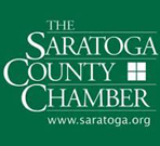 Saratoga County Chamber of Commerce Logo. It features white writing on a green background.