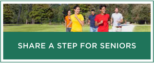 "A graphic of a group of walkers with copy that reads ""Share a Step for Seniors."""