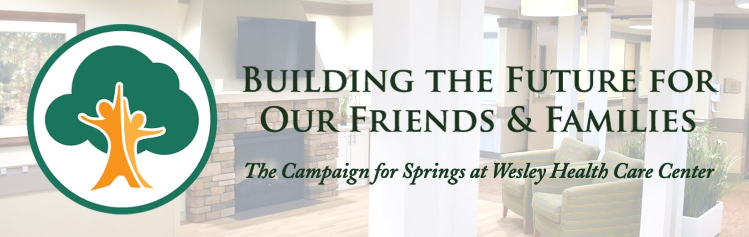 A graphic containing an image of a modern sitting area. Overlaid is the logo for The Campaign for Springs, which features two people that form the trunk of a tree. THe slogan reads - Building the Future for Our Friends and Family.