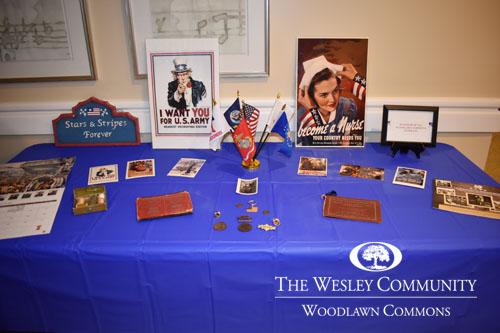 Veteran memorabilia as part of honoring residents