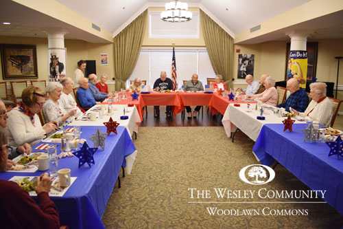 Woodlawn Commons special luncheon decorated for veterans