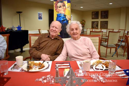Residents enjoying a meal at our Veteran's luncheon