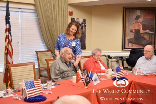 Honoring veterans at Woodlawn Commons at a banquet