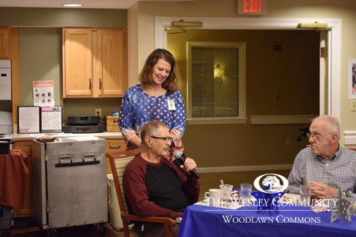 Woodlawn Commons veteran making a speech