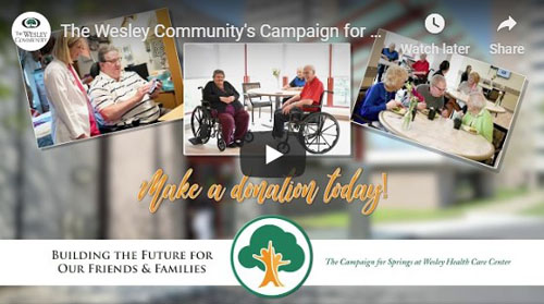 Screen shot from the Campaign for Springs video. It features the campaign logo and residents of the health care center.