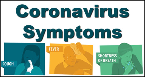 "A graphic which reads ""CORONA VIRUS SYMPTOMS."""