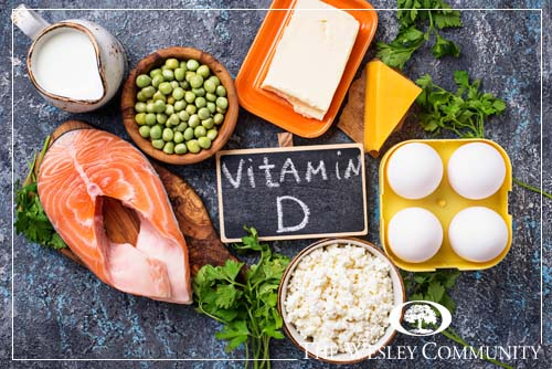 Healthy foods containing vitamin D.