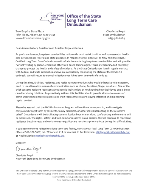 Document from the NYS Omsbudsman for Long Term Care