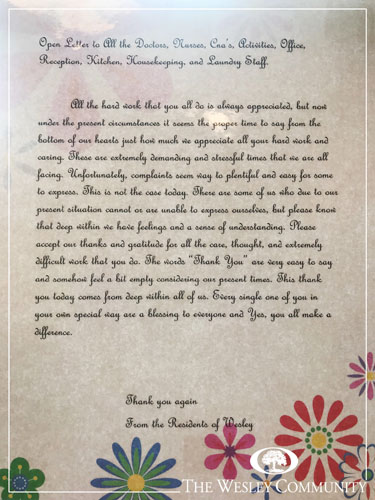 A written note on floral paper.